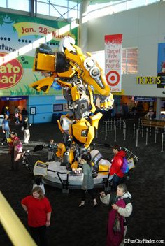 A Giant Transformer character in the lobby of the Children's Museum