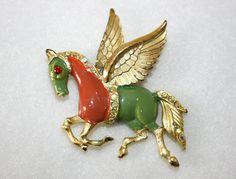Hattie Carnegie Vintage Enamel Pegasus Brooch