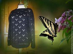 """Купить Пуловер """"Бабочки"""" - черный, однотонный, пуловер, пуловер вязаный, пуловер спицами, пуловер женский"""