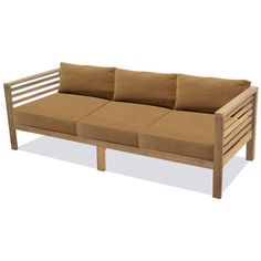 The Anaheim Sofa with Cushions is a natural look to your outdoor space, comfortably seating 3 adults. Furniture frames are crafted from teak that has been reclaimed from existing structures, then enhanced to bring out the character of each artisan piece. Includes comfortable cushions featuring outdoor fabric that are made to withstand the elements.