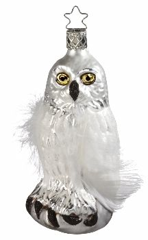 "Winter's Owl. Snowy Owl. With legend card. 4-1/2"" glass ornament.  Hand-blown, hand-painted.  From Inge Glas studios in Neustadt, Germany. The owl brings wisdom and cleverness. Available at www.mygrowingtraditions.com"