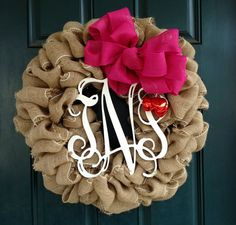 BURLAP Wreath with 3 Letter MONOGRAM choose your by tiffanynewcomb, $65.00