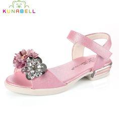 >> Click to Buy << Girls Summer Sandals 2017 New Children Princess Flower High Heel Hollow Sandals Shoes Girls Rhinestones Shoes X111 #Affiliate