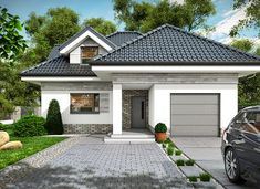 Maja - zdjęcie 1 Beautiful House Plans, Dream House Plans, Modern Bungalow House Plans, Architectural House Plans, My Ideal Home, House Front Design, Small Cottages, Exterior House Colors, Facade House