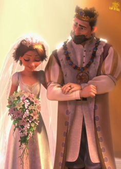 Rapunzel on her wedding day with her father. Getting married to Jack.