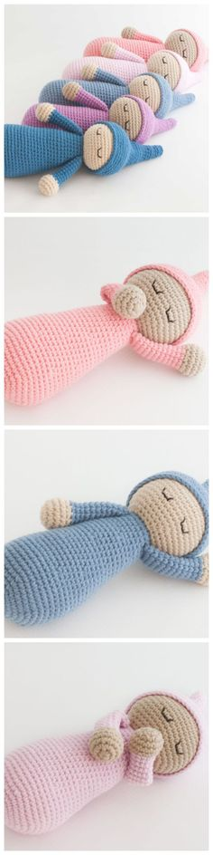Crochet Sleepyhead Doll – Free Pattern Stuff w/ shower poof fabric to make it washable, no mildew, no allergens, & toys won't flatten over time.Sleepyhead Doll Crochet – Free Pattern - The source of information passes through us Crochet Dolls Free Patterns, Baby Patterns, Knitting Patterns Free, Free Knitting, Crochet Stitches, Baby Knitting, Knitting Toys, Sewing Patterns, Knitting Machine
