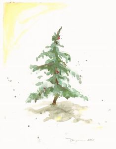 "Fir in Snow III, holiday watercolor print, 8"" x 10"" on Etsy, $8.00"