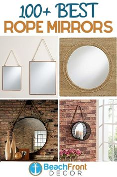 Best Rope Mirrors and Nautical Wall Decor! Discover the top-rated nautical themed rope wall decorations and rope themed mirrors. Round Mirror With Rope, Rope Mirror, Rope Frame, Round Wall Mirror, Nautical Wall Decor, Beach Wall Decor, Nautical Home, Wall Decorations, Top Rated