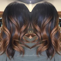 Stylish Highlighted Hairstyles for Black Hair Black Hair with Caramel Ombre Highlights.Black Hair with Caramel Ombre Highlights. Hair Color And Cut, Ombre Hair Color, Hair Colors, Love Hair, Great Hair, Dark Hair With Highlights, Ombre Highlights, Chunky Highlights, Curly Hair Styles