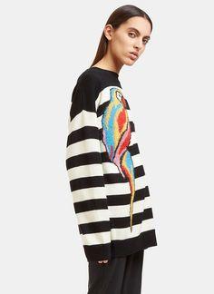 Striped Parrot Intarsia Knit Sweater | LN-CC