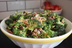 classic broccoli salad, I add sunflower seeds and raisins and BAM!