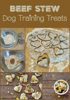 Beef Stew Flavored Dog Treats Recipe: Training Treats Looking for an easy training treats recipe for dogs? Check out our beef stew flavored dog treats, with just 4 ingredients! It's fast, fun & dogs love it! Puppy Treats, Diy Dog Treats, Homemade Dog Treats, Healthy Dog Treats, Dog Biscuit Recipes, Dog Food Recipes, Recipes For Dog Treats, Cbd Dog Treats Recipe, Dog Training Treats