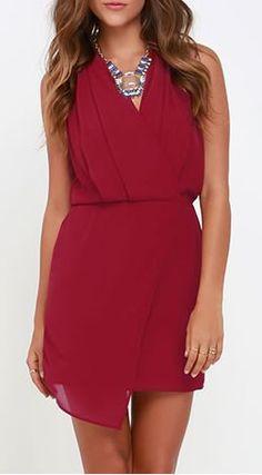 Wine Red Wrap Dress