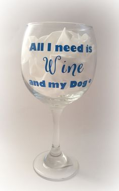 A perfect gift for anyone whose two favorite things are wine and their furry best friend. Who doesnt want to curl up on the couch with their pup and a nice, big glass of wine? Glass holds about 18 oz of wine, stands 9 inches tall and is roughly 4 inches across. Pictured on Red Wine glass, but also available in White Wine or Stemless. Glass is made with permanent, professional vinyl and is customizable in a variety of colors. I will add your pets name to the other side of the glass for a $2…