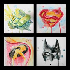 Super Hero Watercolors. Superhero Room Decor, Superhero Wall Art, Comic Book Rooms, Avengers, Painted Paper, Marvel Art, Art Lessons, Painting & Drawing, Watercolor Art