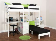 Loft Bed with Futon Chair | Bunk Beds - Stompa Uno Wooden High Sleeper With…