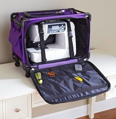Travel with your sewing machin in a collapsible Turro bag that comes in a variety of sizes and bright colors. Tie-down straps steady your machine, and a bounty of pockets manage the sewing machine pedla and cords, fabric, patterns, and notions.