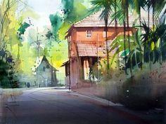 Watercolor Landscape Paintings, Landscape Drawings, Watercolor Sketch, Oil Paintings, Landscapes, Art Watch, Painting Techniques, Painting Inspiration, Amazing Art