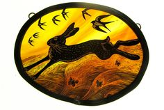 Golden Hare – x Stained Glass Portfolio - Tamsin Abbott Stained Glass Paint, Stained Glass Patterns, Stained Glass Windows, Mosaic Glass, Fused Glass, Glass Art, Traditional Paintings, Art For Art Sake, Through The Looking Glass
