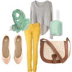 mint & mustard outfit, from my polyvore.