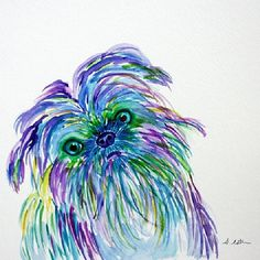 Lovely watercolor! stephanieestrin: A commission painting off a Brussels Griffon. #art #painting #watercolors #dog #atx #artist #austin #brusselsgriffon
