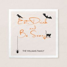 Eat Drink and Be Scary Halloween Paper Napkins - Halloween happyhalloween festival party holiday