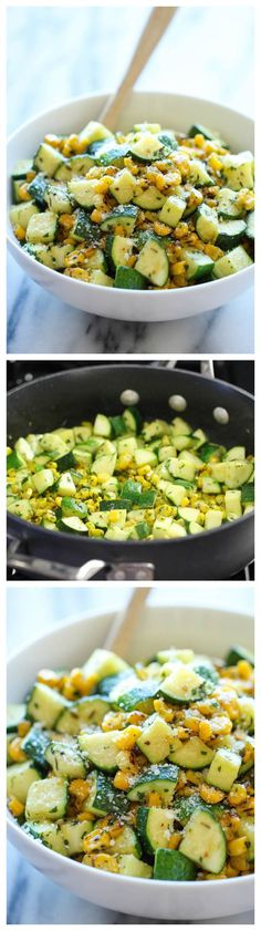 Parmesan Zucchini and Corn - A healthy 10 minute side dish to dress up any meal. It's so simple yet full of flavor! #vegetable #sidedish