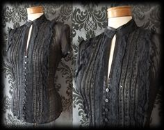 Gothic Black Frilled Bead Detail FOREVER & AGAIN Blouse 12 14 Victorian Vintage