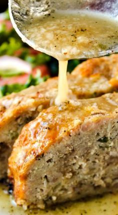 1770 House Meatloaf with Garlic Sauce ~ The BEST meatloaf ever... It's tender, moist, and flavorful. Pure comfort food.