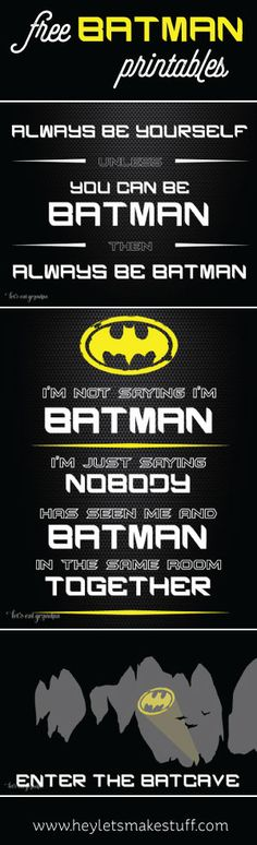 These free Batman printables are perfect for super hero birthday parties or kids' bedrooms.