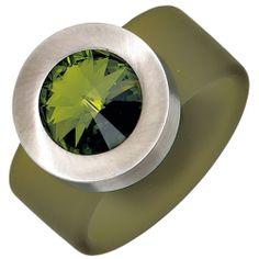 Damenring, PVC oliv mit Edelstahl kombiniert, 1 Swarovski-Element (nur Weite 50 - 60), Breite ca. 15,8 mm, Tiefe ca. 10 mm $25.85