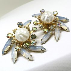 Blue Earrings - Vintage, BeauJewels Signed, Gold Tone, Faux Pearl and Rhinestones, Clip-on Earrings by MyDellaWear on Etsy