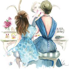 illustration sketches Rodgers and daughter and blue dress .Katie Rodgers works with renowned designers and fashion magazines. In his illustrations she often uses sparkling rhinestones, sequins and glitter, giv Art And Illustration, Mother Daughter Art, Mother And Child, Future Daughter, Mothers Love, Happy Mothers Day, Paper Fashion, Art Photography, Artsy
