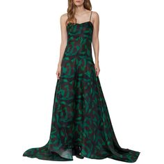 Akris Garden-Print Silk Organza Gown ($4,990) ❤ liked on Polyvore featuring dresses, gowns, green, white gown, white evening gowns, green dress, white evening dresses and green evening gown