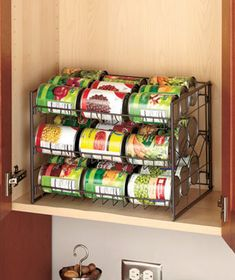 These multifunctional Kitchen Storage Organizers help declutter your home. A versatile, space-saving storage solution, each features durable steel wire construction and a decorative diamond design. Ideal for a pantry or cabinet, the 3-Tier Can Organizer