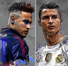 Champions league: PSG vs Real Madrid, who win ? My painting of @neymarjr and @cristiano. #psg #paris #icicestparis #realmadrid #realmadridcf #halamadrid #cristianoronaldo #cristiano #neymar #neymarjr #soccer #football #footballer #ldc...