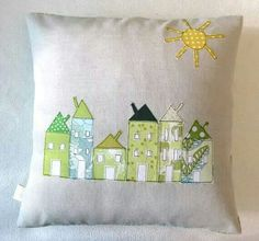 house applique cushion pillow idea