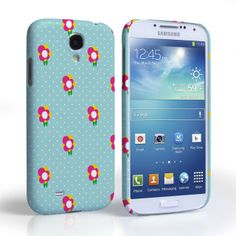 Samsung Galaxy S4 Mint Green and Pink Dainty Dots and Flowers Hard Case