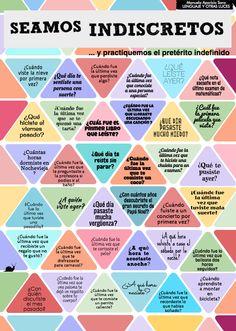 Juego/tablero para practicar el pretérito indefinido. Seamos indiscretos y practiquemos el pretérito indefinido. https://lenguajeyotrasluces.wordpress.com/