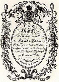 london trade card of a surgeon dentist