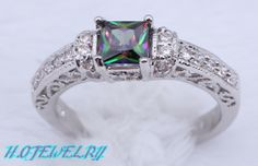 Best-selling Models ! Multicolour Mystic Topaz Fashion jewelry 925 Fashion Silver Rings size #8 HR73B Free Shipping ! $6.59