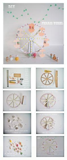 Haz tu misma esta noria de cartón para decorar la mesa dulce de tu fiesta de bautizo. #decoraciondebautizo #bautismo