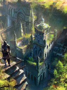 "fantasy-art-engine: "" Above the Garden City by Il Su Ko """