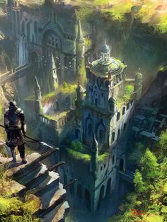 "fantasy-art-engine: "" Above the Garden City by Il Su Ko """