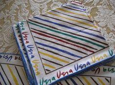 Vintage Vera set of 4 matching Linen Napkins