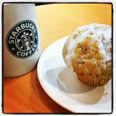 My breakfast at work: #Starbucks #coffee and #low-fat-blueberry-muffin
