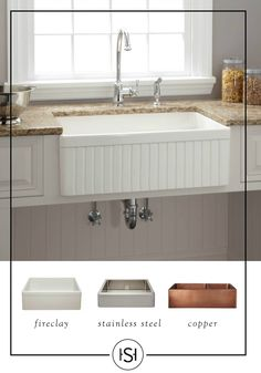 Find the right farmhouse sink for your kitchen remodeling project. With style and class, these sinks come in a range of sizes and finishes from Signature Hardware. They are elegantly crafted to ensure it not only looks great but also lasts for many years Kitchen Sink Design, Farmhouse Sink Kitchen, Modern Farmhouse Kitchens, Country Kitchen, New Kitchen, Home Kitchens, Kitchen Decor, Vintage Kitchen, White Farmhouse Sink