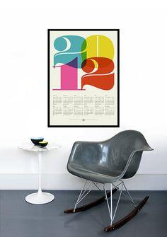 2012 calendar poster print retro - Large 50 x 70 cm Mid Century Modern retro Eames Kitchen