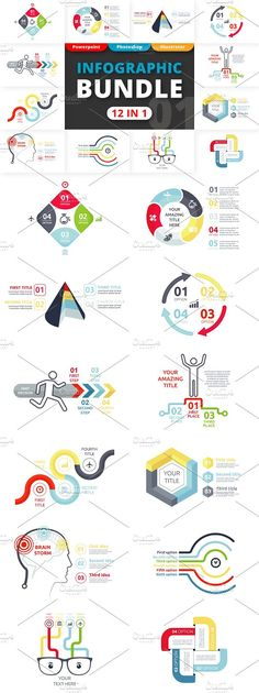 Flexible Infographic Bundle 12 in 1 by Infographic Paradise on @creativemarket