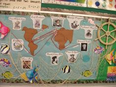 Explorer's Bulletin Board- alter for any content 3rd Grade Social Studies, Social Studies Classroom, Teaching Social Studies, Geography Bulletin Board, History Bulletin Boards, Explorers Unit, Early Explorers, Classroom Displays, Classroom Themes